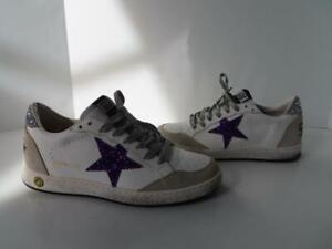 Golden Goose Ballstar Purple Glitter Star Girls Low Top Sneakers EUR 37/ US 7