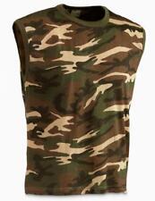 Italian Military Surplus Item -  Army Men Woodland Camo Sleeveless T-Shirt