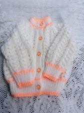 """Brand New Hand Knitted Baby Cardigan White /Peach. Size 3-6 Months 18"""""""
