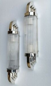 Pair Vintage Old Art Deco Nickel Brass & Glass Rod Ship Light Wall Sconces Lamp