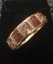 GP Sterling Silver, Enamel & Cubic Zirconia Fancy Bangle Gold/Brown Animal Print