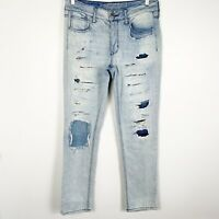 American Eagle Womens High Rise Tomgirl Straight Fit Jeans Distressed Light Sz 4