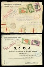 FRENCH COLONIES NIGER to MOROCCO 1942 AIRMAIL...SCOA...2 COVERS
