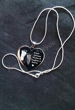 Personalised Engraved Handprint / Footprint High Quality Heart Necklace +Chain..