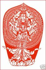 Handmade Paper Cut 1000 Hand Guanyin Bodhisattva Large single Red piece
