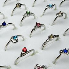 50pcs Wholesale Jewelry Lots Mix color Czech Rhinestones Silver P Fashion Rings