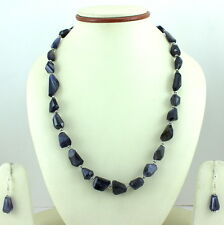 925 SOLID STERLING SILVER NATURAL FACETED IOLITE GEMSTONE NECKLACE & EARRINGS