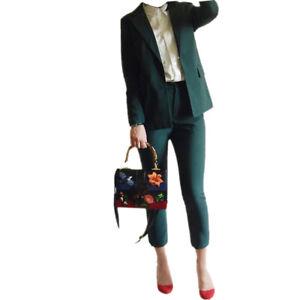 Dark Green Women's Slim Fit Business Suit Size L