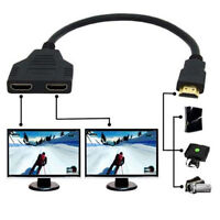 New HDMI 1 Male To Two Female Y Splitter Adapter HD1080P 3D For HDTV Monitor DVD