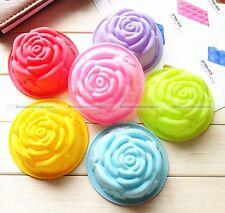 6X Silicone Rose Shape Candy Muffin Jello Pudding Ice Cake Decor Baking Mold