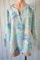 Suzanne Grae Top Size 12 Medium Green Blue Orange Floral Tunic