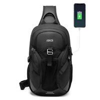 Sling Backpack Oxford cloth Waterproof Black Crossbody Bag Outdoor Sport Bags