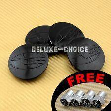 "SET OF 4 BLACK CENTER CAP LOGO for FACTORY SUBARU CAR ALLOY WHEEL 60MM 2.25"""