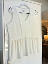 NEXT SUMMER TOP SIZE 14 IVORY SLEEVELESS TUNIC WITH FREYED TRIM DETAIL 🍃lovely