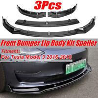 Carbon Black Front Bumper Lip Body Kit Spoiler For Tesla Model 3 Sedan 2016-2019