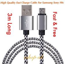 3M Braided Micro USB Data Lead Charging Cable For Samsung Galaxy S4/5/6/7 Edge