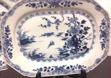 SALE! Two Antique Blue & White Chinese Porcelain Platters w River Scene & Bird