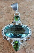 Large Blue Paraiba Apatite Peridot Pendant for Necklace 925 Sterling Silver #367