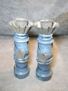 Pair of Rustic Blue Painted Wood Spindle Candle Sticks Holders
