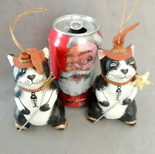 "Christmas Ornament Wood Cat Animal Black White W/ Hat & Septer Star 4"" Lot of 2"