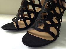 NIB! Adrienne Vittadini ALBY Black Suede Leather Laser Cut Wedge Sandals 7.5 M
