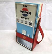 Vtg Novelty Say Pepsi Please Vending Machine AM Transistor Radio W/ Leather Case