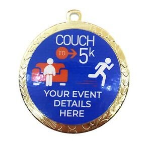 Couch to 5K Running Medals  (60mm) with Personalised logo + CHOICE of Ribbon