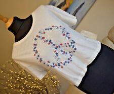 BNWT Ralph Lauren Peace Logo T-Shirt Cropped White Crew Neck SS - Womens Sz L