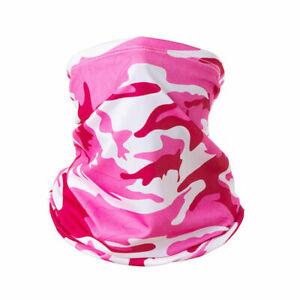 Snood Neck Warmer Face Mask Scarf Headband Stretch Tube Pink Camo Grey Geo 1 Ply
