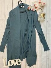 East Size 8 green long water fall floaty open front merino wool blend cardigan