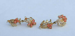 Floral Style Coral Post Dangle Earrings w/8 Man-Made Dias. - 14K Yellow Gold