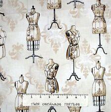 Sewing Fabric - Vintage Couturier Mannikan Beige - Robert Kaufman YARD