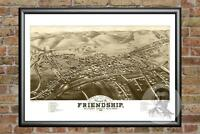 Old Map of Friendship, NY from 1882 - Vintage New York Art, Historic Decor