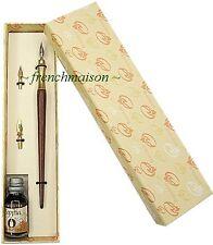 Bortoletti Brass Wood Fine PEN+INK+NIB Writer Gift Box Set New HANDMADE ITALIAN