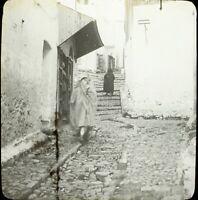 MAROC Tanger une Rue Maghreb 1904, Photo Stereo Grande Plaque Verre VR9L5n9