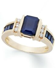 4Ct Emerald Cut Blue Sapphire Synt Diamond Engagement Ring Yellow Gold FN Silver