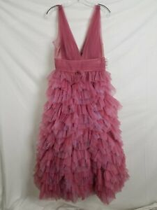 Marchesa Notte Pink & Purple Tulle Ruffle Gown Women's 10