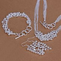 beautiful Fashion women silver Pretty Beads Earring Bracelet Necklace set S137