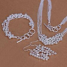 beautiful Fashion women 925 sterling silver Beads Earring Bracelet Necklace set