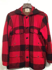 Vintage Mens Johnson Woolen Mills Red Plaid Wool hunting Coat Sz 42