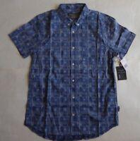 Brooklyn Cloth Blue Reverse Geo Native Plaids Print Size Large SS Casual Shirt