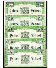 5 NOTES Philadelphia PA Peirce School $2 $10 $20 $50,$100 1865-1904