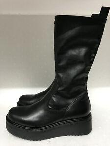 Vagabond Tara Black Leather Comb Mid-Calf Wedge Platform Sock Boots EU39 US9 **