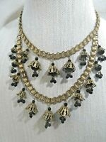 MIRIAM HASKELL Unsigned Art Deco Gold Gilt Drippy Beads Bookcase Bib Necklace