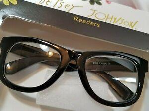 NEW +1.50 Betsey Johnson ⚫ Black ⚫ Thick Frame Reading Glasses Readers