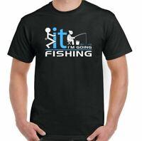 Fishing T-Shirt Mens Funny Fisherman Angler Angling Rod Fish Reel Tackle F It