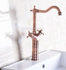 Antique Red Copper Swivel Bathroom Kitchen Sink Basin Faucet Mixer Tap Pnf127