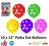 "10 x Coloured 12"" Latex POLKA DOT Balloons Party Balloon Bag Filler Gift Toy UK"