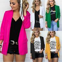 Womens Oversized Long Jacket Open Front Cardigan Long Sleeve Blazer Casual Coat