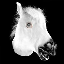 White Horse Head Mask Animal Costume Theater Prop Novelty Latex Rubber Cover